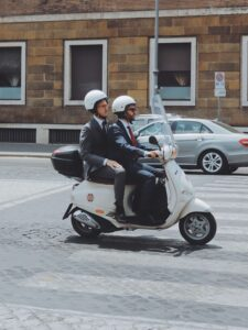 Commuting to work on a moped